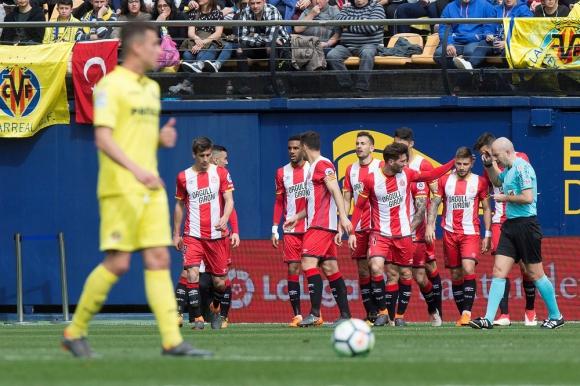 Girona festejando el gol de Cristhian Stuani. Foto: EFE