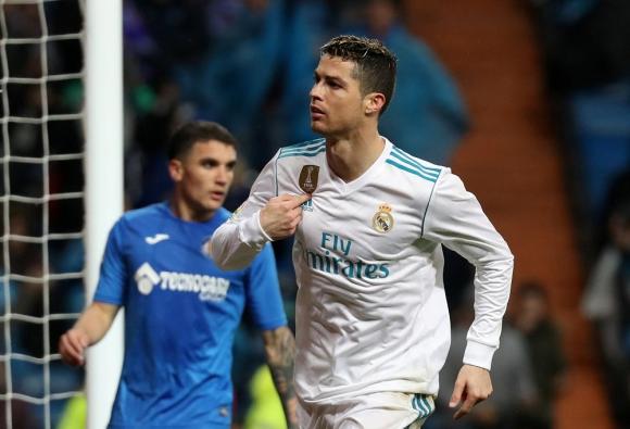 Cristiano Ronaldo festejando el gol del Real Madrid contra Getefe. Foto: Reuters