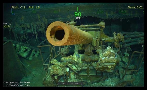 Imágenes difundidas por el equipo que encontró al USS Lexington. Foto: AFP