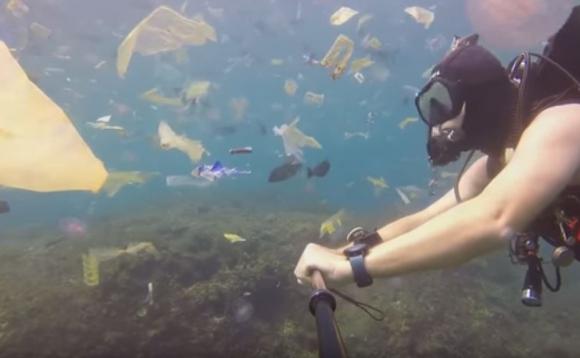 El Buzo Rick Horner bucea en un mar de plástico en Bali. Foto: Captura
