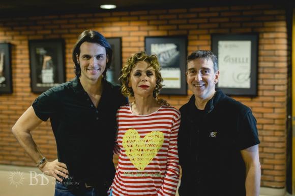 Igor yebra, Agatha Ruiz de la Prada y Julio Bocca en el Auditorio. Foto: Difusión Auditorio del Sodre