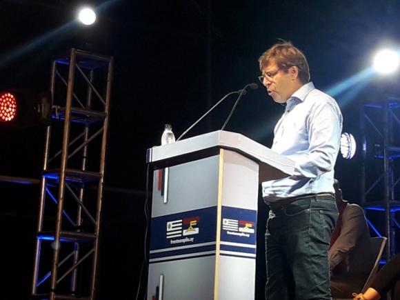 Javier Miranda en acto aniversario del Frente Amplio. Foto: Valeria Gil