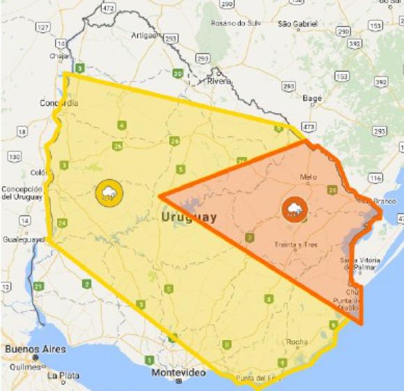 Alerta amarilla y naranja