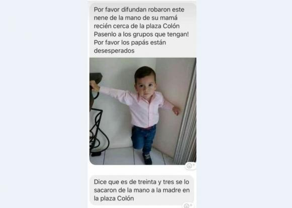 """El niño """"secuestrado en Plaza Colón"""". Foto: redes"""