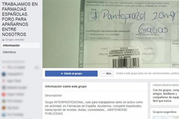 Captura: Facebook Trabajamos en Farmacias españolas