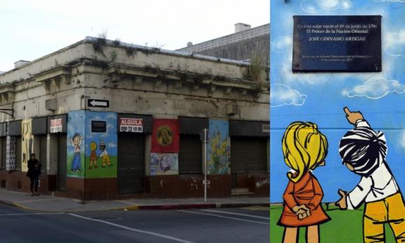 Solar histórico.  Dos pequeños murales que reenvían a la infancia fueron pintados en estos días en donde nació el prócer José Gervasio Artigas. Foto: Marcelo Bonjour.