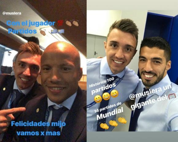 Sánchez y Suárez felicitan a Muslera en Instagram.