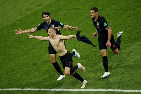 Vida celebra el gol de Croacia ante Rusia. Foto: AFP.