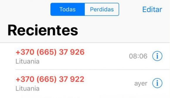 Uruguayos recibieron llamadas desde Lituania en las últimas horas. Foto: captura de pantalla