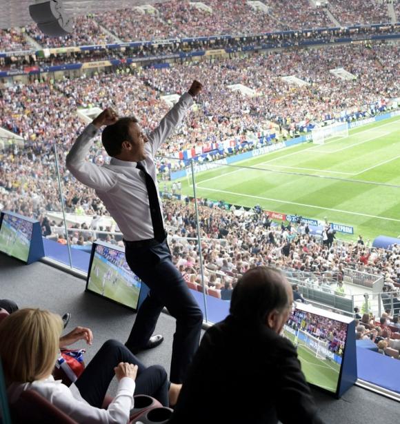 Emmanuel Macron: el presidente francés el domingo en el estadio Luzhniki. Foto: EFE