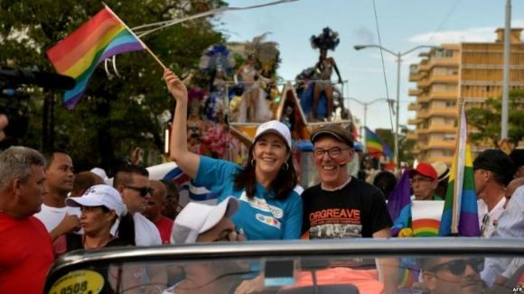 Mariela Castro en una marcha contra la homofobia realizada en mayo. Foto: AFP.