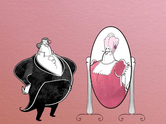 Una de las caricaturas de Joshua Held que se proyectarán en el Teatro Solís  durante El barbero de Sevilla. Foto: Difusión