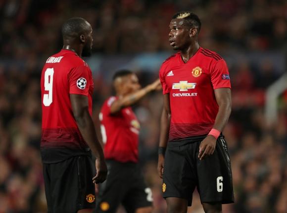 Lukaku y Pogba en el partido del Manchester United