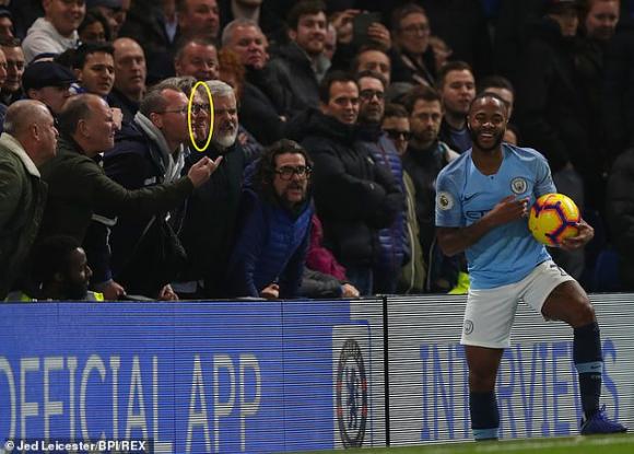 Hinchas del Chelsea insultando a Raheem Sterling. Foto: AFP.