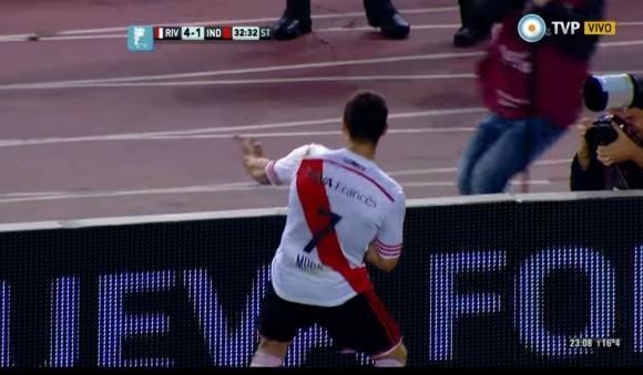 Rodrigo Mora festejando el gol contra Independiente