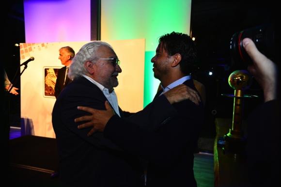 El expresidente de Nacional, Ricardo Alarcón, junto al técnico de River Plate, Marcelo Gallardo. Foto: Gerardo Pérez