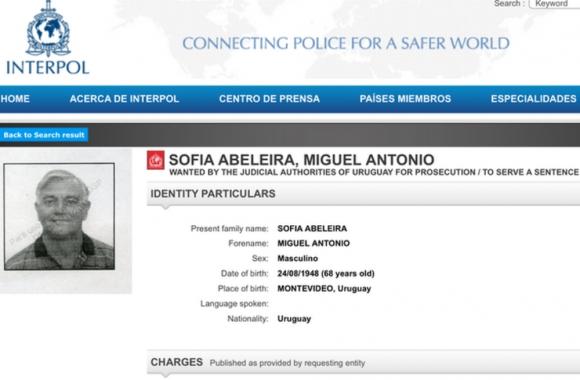 Miguel Sofía en la página de Interpol.