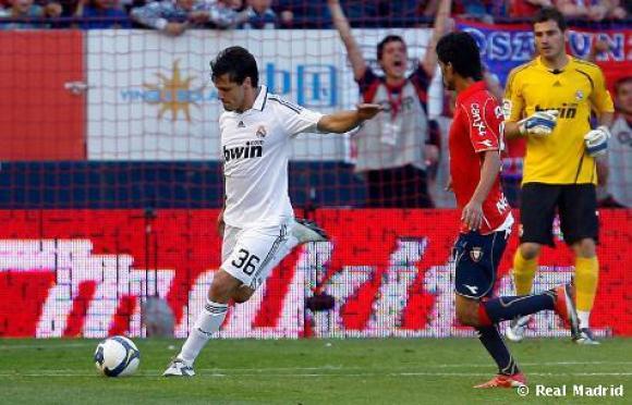 Gary Kagelmacher en el único partido que jugó con el Real Madrid, frente a Osasuna. Foto: Real Madrid