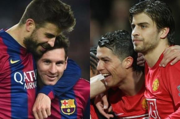 Gerard Piqué jugó con Lionel Messi en Barcelona y con Ronaldo en Manchester.
