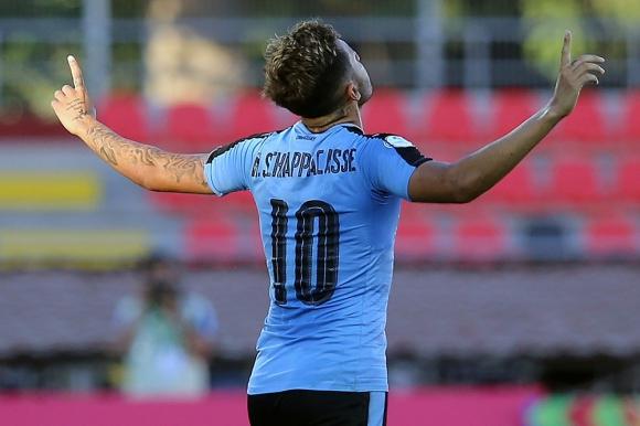 Nicolás Schiappacasse en el Uruguay vs. Paraguay en el Sudamericano Sub 20