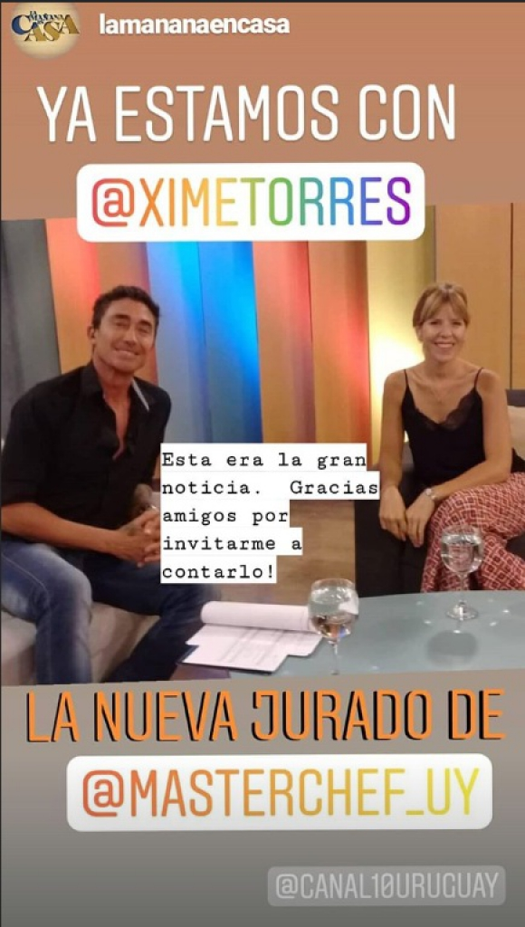 Ximena Torres se incorpora a MasterChef Uruguay. Foto: Instagram Ximena Torres