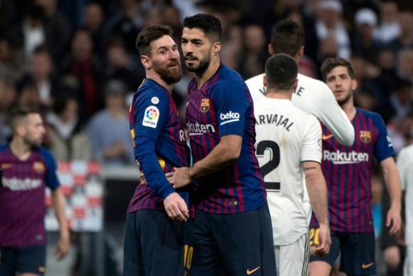 Lionel Messi y Luis Suárez en el Santiago Bernabéu ante Real Madrid. Foto: AFP