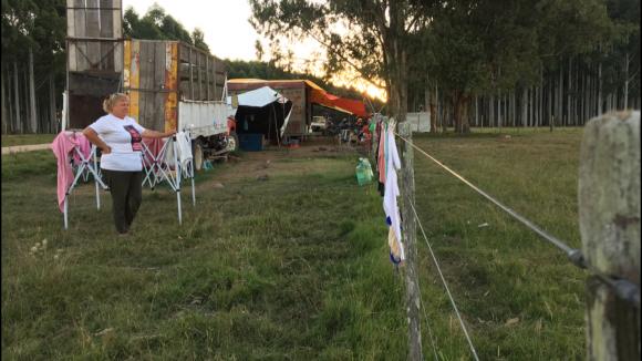 Campamento en Treinta y Tres por desaparecido Juan Terra. Foto: Néstor Araújo