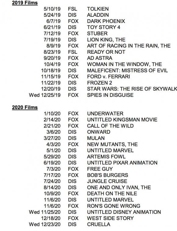 Calendario Disney con los estrenos para 2019 y 2020.