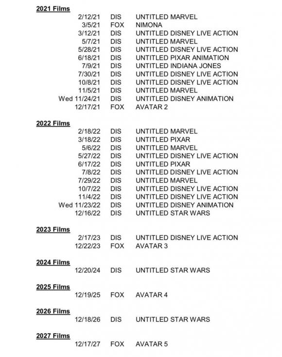 Calendario Disney para los años siguientes.
