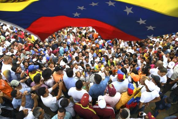 Juan Guaidó en acto contra el gobierno de Nicolás Maduro. Foto: AFP