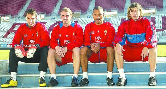 Los uruguayos del Murcia en la temporada 2007/2008: Carini, Alonso, Regueiro y García. Foto: Pepe Valero.