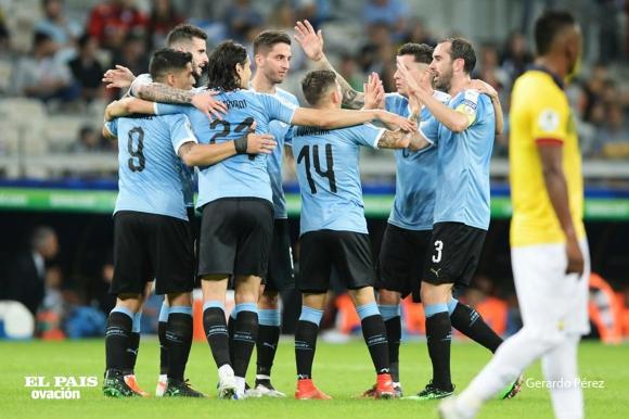 Festejo de la Selección Uruguaya.