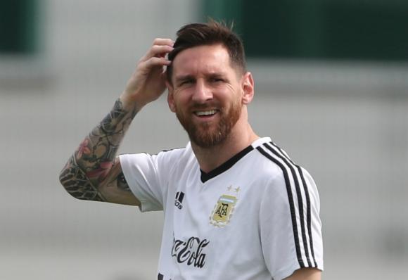 Lionel Messi en un entrenamiento de Argentina. Foto: Reuters.