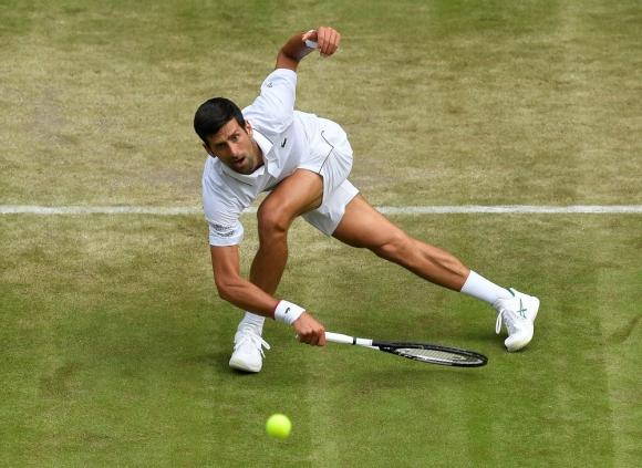 Novak Djokovic en Wimbledon 2019.