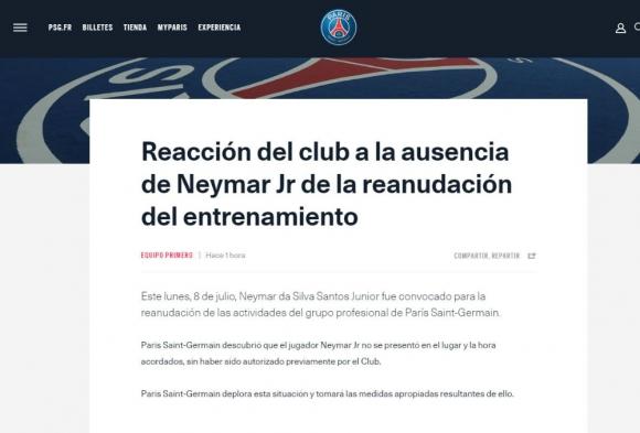 Comunicado oficial del PSG