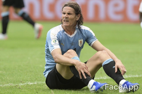 Así se ven los jugadores de Uruguay con el paso del tiempo en FaceApp. Imagen original: Archivo El País