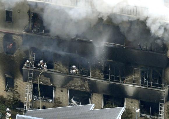 Incendio en edificio de empresa de animación japonesa. Foto: Reuters