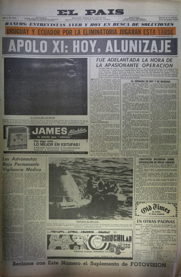 Las portadas de El País que informaron sobre la llegada del hombre a la Luna. Foto: Archivo El País