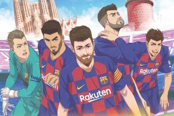 Los jugadores del Barcelona en el manga del equipo culé.