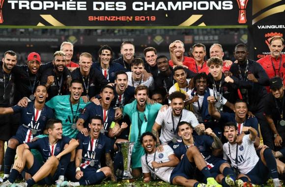 El festejo del PSG luego de la consagración en la Supercopa de Francia, Foto: AFP