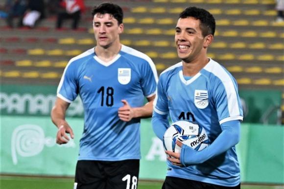 Leonardo Fernández celebra el tanto anotado ante Honduras en los Juegos Panamericanos. Foto: @Uruguay