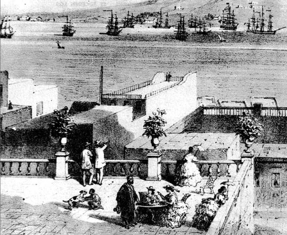 Una típica azotea montevideana del siglo XIX frente a la bahía.