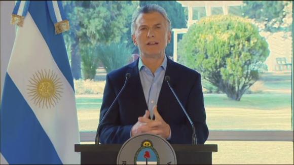 Mauricio Macri habla en cadena nacional. Foto: AFP