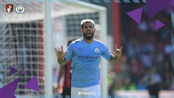 Sergio Agüero celebrando su gol