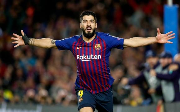 Luis Suárez celebrando un gol con la camiseta del FC Barcelona
