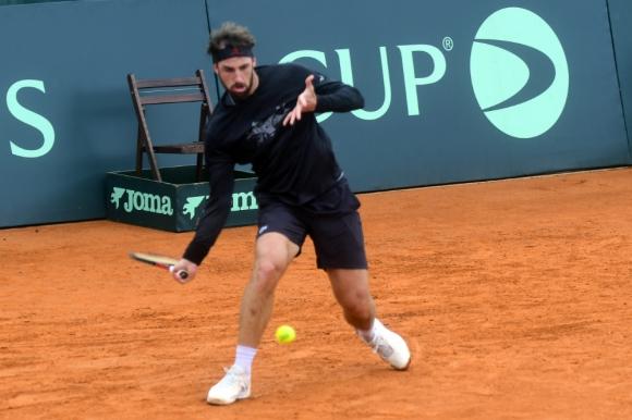 """""""Bebu"""" Martín Cuevas en el entrenamiento de Uruguay por la Copa Davis."""