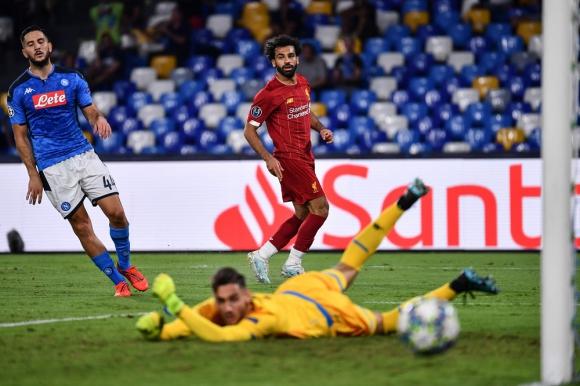 Mohamed Salah en el Liverpool vs. Napoli