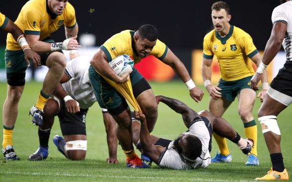 Peni Ravai en el Australia vs. Fiji del Mundial de Rugby
