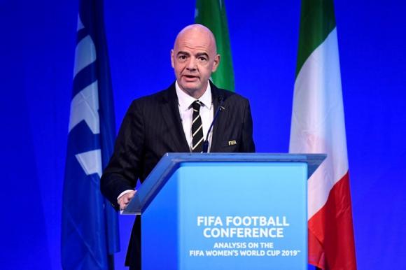 Gianni Infantino en la Conferencia del Fútbol FIFA. Foto: Reuters.