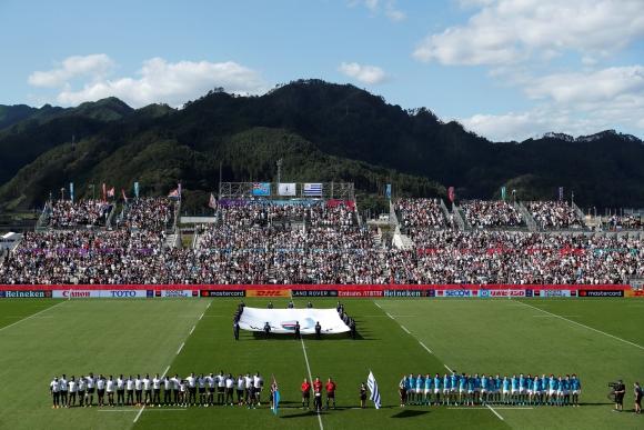Uruguay ante Fiji en el debut celeste en la Copa del Mundo de Japón 2019. Foto: AFP.